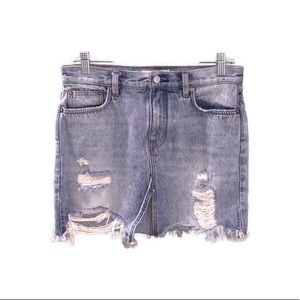Free People Blue Light Wash Distressed Denim Skirt